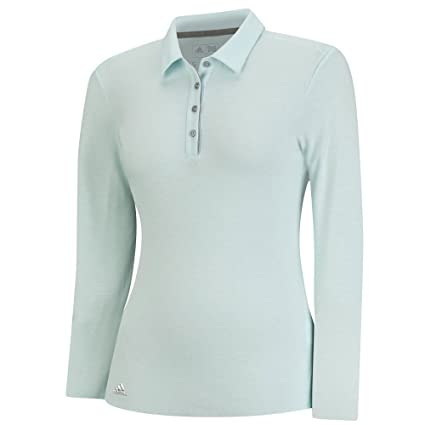 2d8e15e7 adidas Golf Women's Essentials Heather Long Sleeve Polo, Ice Blue HTR, Small