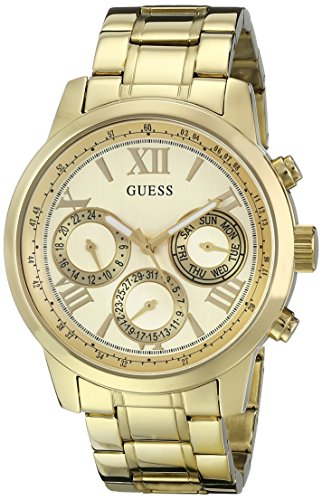 GUESS Women's U0330L1 Sporty Gold-Tone Stainless Steel Watch with Multi-function Dial and Pilot Buckle