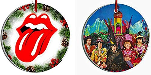 Handmade by Senor Swag ~ Two (2) Rolling Stones Collectible Christmas Ornaments ~ Porcelain Disc. HD Printed Both Sides ~ Includes Gift Box $5 DiISCOUNT FROM BUYING SEPARATELY.