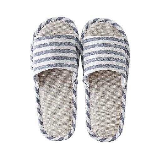 fereshte Unisex Adults Cotton Flax Classic Zebra Stripe Open-Toe House Hotel Travel Slippers Dark Blue Men COgGWoo