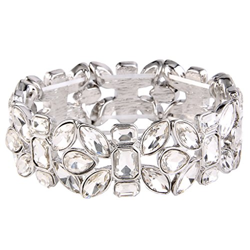 Austrian Crystal Stretch Bracelet (EVER FAITH Women's Austrian Crystal Leaf Teardrop Wedding Elastic Stretch Bracelet Clear Silver-Tone)