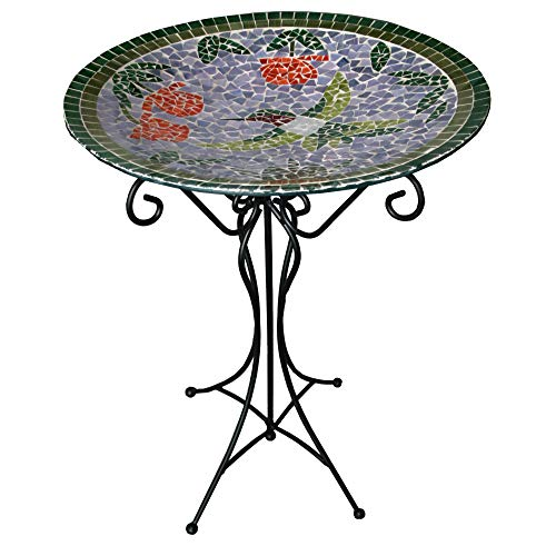Gardener's Select A14BFG01A  Mosaic Glass Bath and Stand, Humming Bird Design (Mosaic Hummingbird)