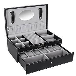 SONGMICS Black Jewelry Box 6 Watch Organizer Storage Case with Lock and Mirror UJWB11B