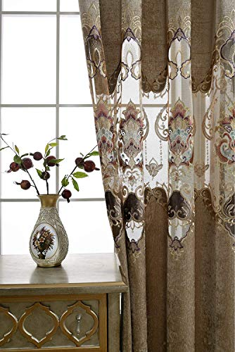 AiFish Chenille Curtains and Drapes for Bedroom Deluxe European Hollowed Cloth Curtains Embroidered Floral Half Blackout Draperies Curtains with Eyelets for Sliding Glass Door 1 Panel W52 x L63 inch