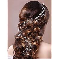 Accesorios de la pieza del pelo de la vid del pelo de la venda nupcial decorativa del diadema de la boda de Unicra para las novias y las damas de honor (19.7 pulgadas)