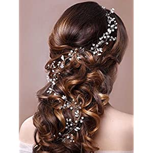 Unicra Wedding Headpiece Decorative Bridal Headband Hair Vine Hair Piece Accessories for Brides and Bridesmaids(19.7 Inches) (Silver)
