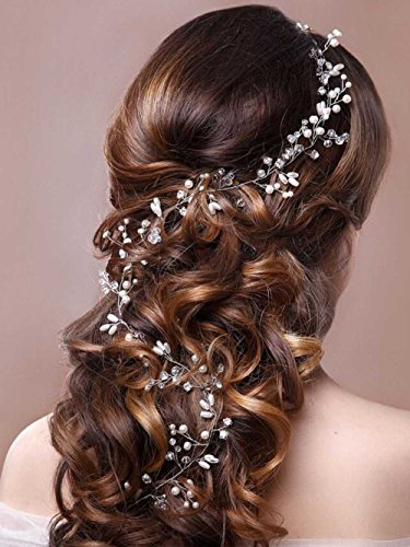Venusvi Crystals Bridal Wedding Headband, Hair Vine and Headpiece (19.7 Inches)