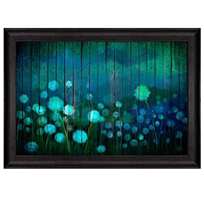 Water Painting of a Field with Dandelions Over Teal Wooden Panels Nature Framed Art, Made With Top Quality, Astonishing Piece