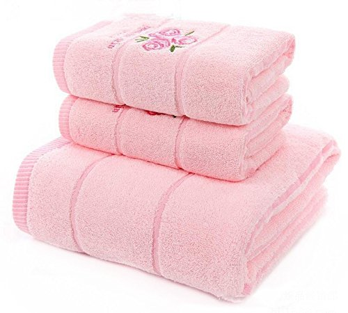 Ustide 3-piece Pink Emboridered Rose Bath Towels Set Pink Striped Hand (Rose Towel Set)