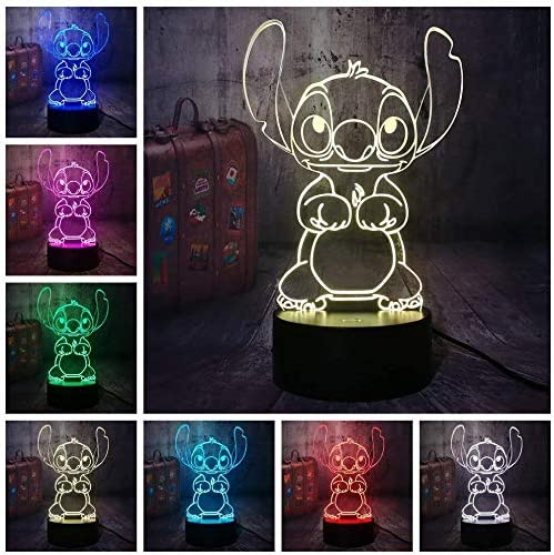 L/ámpara de ilusi/ón 3D l/ámpara Decoraci/ón del hogar Holiday Boy Christmas Gift LED Night Light 3D 7 colores Baby Sleeping Desk dise/ño de dibujos animados Cute Stitch Alien Dog
