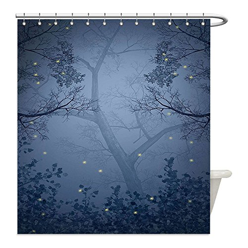 Liguo88 Custom Waterproof Bathroom Shower Curtain Polyester Mystic Forest Decor Fog Dark Gloomy Horror Mist Forest with Fairy Dragonflies on Branches Print Blue Decorative bathroom