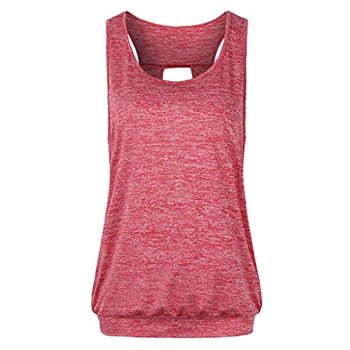 - Sunhusing Women's Solid Color Halter Vest Style Keyhole Sports Shirt Open Back Sports Vest Tank Tops Red