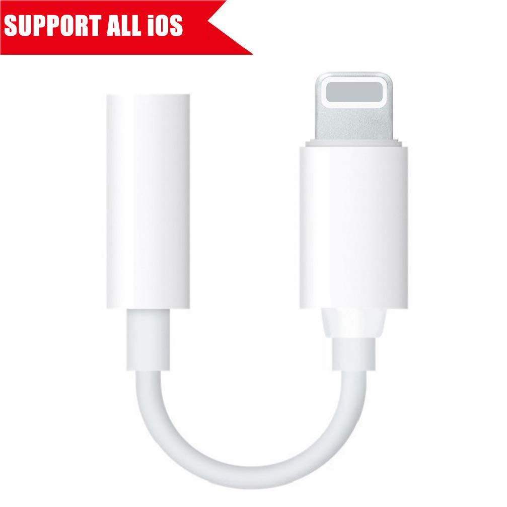 Lightning Jack Adapter,Lightning to 3.5 mm Headphone Jack Adapter Lightning Connector to 3.5mm AUX Audio Jack Earphone Extender Jack Stereo for iPhone X iPhone 8/8Plus iPhone 7/7Plus Support iOS 11 iNassen B078XHYGWH