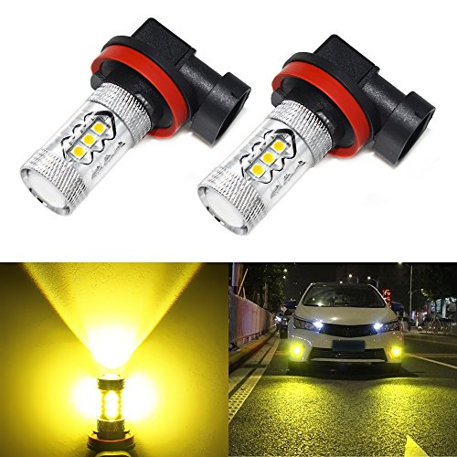 Carr Lighting Super Bright 3030 16-SMD H11 H8 H16 H11LL H8LL LED Bulbs Gold Yellow for Fog Light or DRL Daytime Driving Lamps Replacement (Lights Yellow Driving)