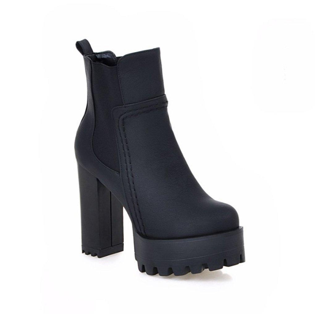 Zrf angenehm Rutschfest Herbst und Winter Europa und die Vereinigten Staaten Mode Kurze Stiefel Dicke hochhackigen Damen Stiefel widerstandsfähig warm (Farbe   SCHWARZ größe   33)