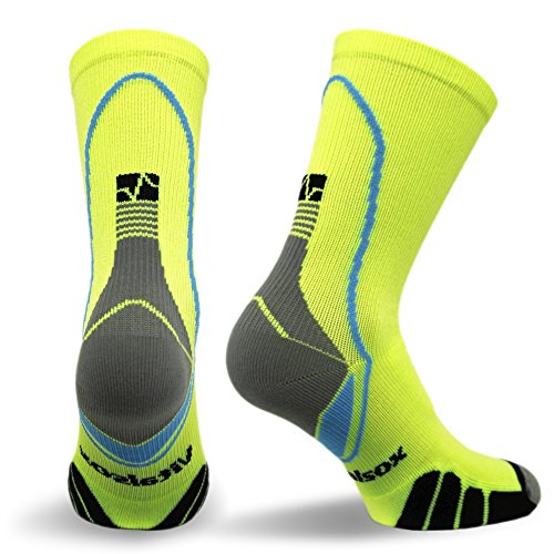 Vitalsox VT5810 Italian Support & Odor Control Crew Socks (1 pair- fitted) Best For Running, Travel, Yoga, Gym, Basketball, Sports Yellow, Large by Vitalsox (Image #1)