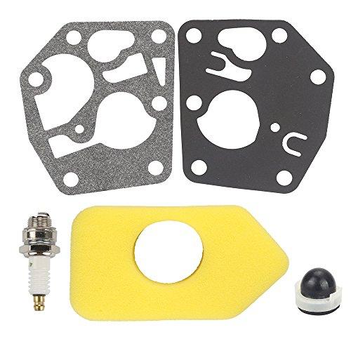 (Hilom 495770 795083 5083k Carburetor Diaphragm Kit & 694394 494408 Primer Bulb & 698369 Air Filter with Spark Plug for Briggs & Stratton 3.5-4.5 HP Engine Lawn)