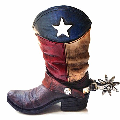 (Texas Lone Star Cowboy Boot with Spur Piggy Bank for Western Decor)