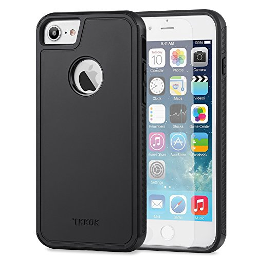 TKKOK iPhone 7 case, Slim Dual layer Heavy Duty Rugged Scratch-Resistant Shockproof Non-slip Grip Protective Case Cover for iPhone 7-Black