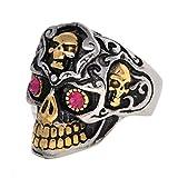 deer skull ring - Dear Deer Stainless Steel Vintage Classic Golden Teeth Pink Eyes Evil Skull Ring