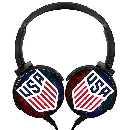 PjNnt United States Bass Stereo Wired Headphones Portable Folding Over Ear Earphone Black