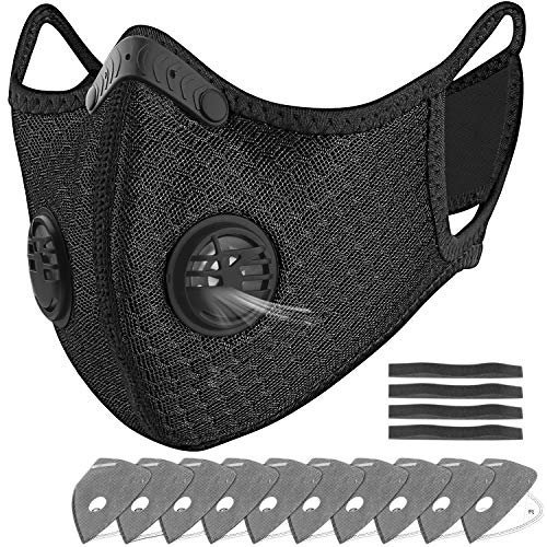 Dust Masks, UBRU Reusable Safety Respirators N95 Face Masks for Flu Allergies Woodworking Running Sanding Mowing Half Mask for Women Men Black with 10 Activated Carbon Filters Replacement