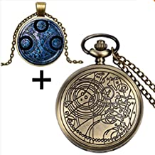 Dr Doctor Who Bronze Quartz Pocket Watch with Glass Dome Necklace & Gift Box and Chain Fob Watch Doctor Who Inspired Necklace - Handmade