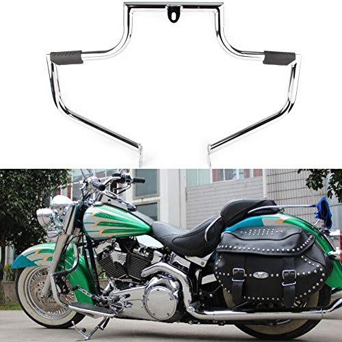 - GZYF Motorcycle Engine Guard Highway Crash Bar Protection Fits 2000-2017 Harley Davidson FLSTC Softail Heritage Classic, Silver