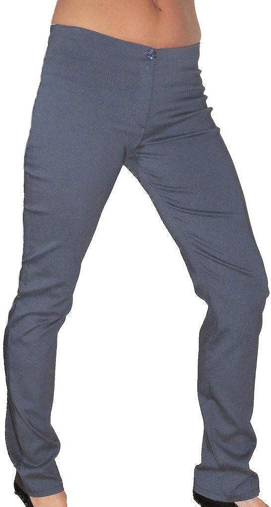 icecoolfashion Low Waist Stretch Skinny Trousers Denim Look Blue Grey 2-6