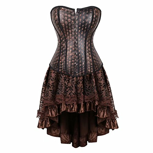 Leather Corset Dress Women's Steampunk Skull Clothing Vintage Halloween Pirate Gothic Bustier Skirt Set Brown 2XL]()