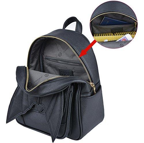 en avec Sac femme sac a noir a Coofit femme a Sac ville Bat cuir original Black dos PU petit dos Sac Ailes Design Mini dos dos a femme Petit x44qTw1v