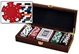 Glossy Wooden Poker Chip Case - Holds 100 Chips, 2 Decks of Playing Cards and Dice