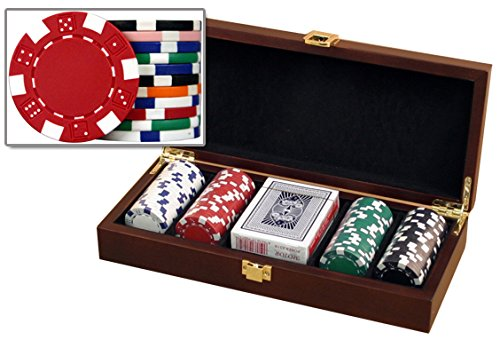 Glossy Wooden Poker Chip Case - Holds 100 Chips, 2 Decks of Playing Cards and Dice by Las Vegas Poker Chips