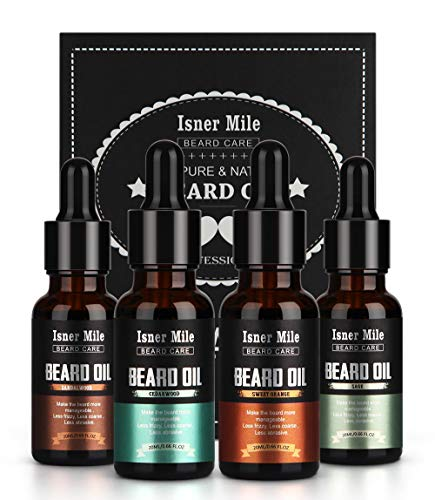 4 Pack Beard Oil Leave in Conditioner Serum Kit – Cedarwood, Sandalwood, Sage & Sweet Orange – Men Beard Mustaches Growth, Soften, Moisturizing, Strengthen & Style – 100% Natural Organic Ingredients
