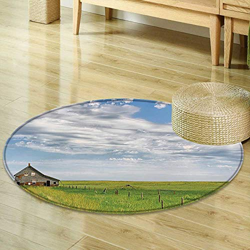 Mikihome Print Area Rug Rustic Canadian Timber House in Terrain Grassland with Clouds in Air Landscape Green Blue Perfect for Any Room, Floor Carpet R-47 ()