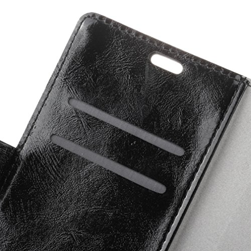 Lusee® PU Caso de cuero sintético Funda para Meizu MeiLan E2 5.5 Pulgada Cubierta con funda de silicona botón caballo Loco patrón Rosa caballo Loco patrón negro