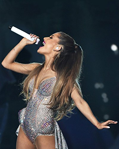aadcc7b7bb98c Amazon.com: Ariana Grande stunner in profile silver stage costume ...