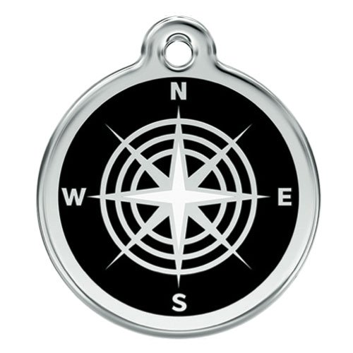 Custom Engraved Stainless Steel and Enamel Dog ID Tag - Compass (Black, - Tags Enamel Id Dog