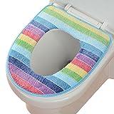 Hestio Colorful Rainbow Bathroom Soft Warmer Toilet Seat Cushion Mat Washable(blue edge)
