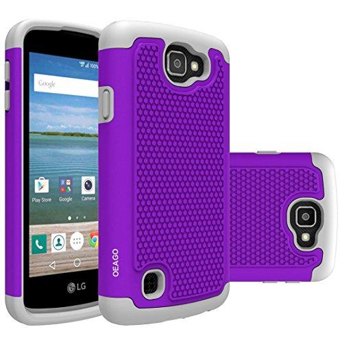 OEAGO LG Optimus Zone 3 Case, LG K4 LTE Case, LG Spree Case, LG Rebel Case - Shock-Absorption Dual Layer Defender Protective Cover for LG Optimus Zone 3 / LG K4 LTE / LG Spree / LG Rebel LTE - Violet