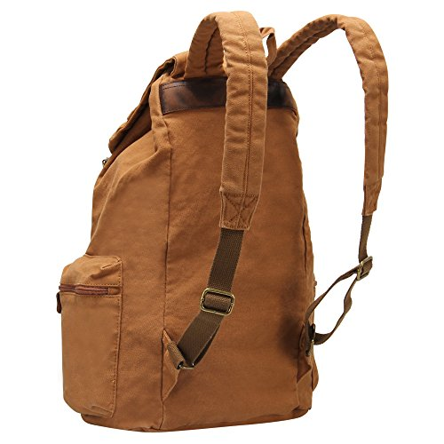 Hynes Eagle Retro Style Leather Straps Travel Canvas Backpack ...