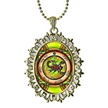 Solomons 5th Pentacle of Mars to Cause All Demons to Obey Huge Light Gold Medallion Rhinestone Pendant