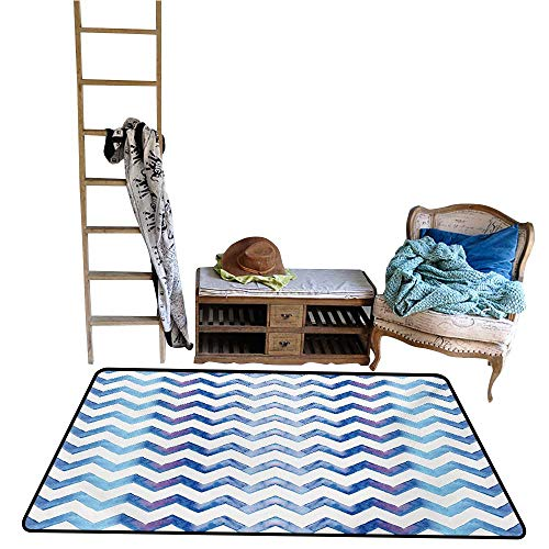 Household Decorative Floor mat,Watercolors Style Chevron Pattern Minimalist Authentic Shapes Constant Angles Print 55