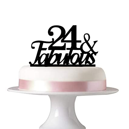Fantastic 24 Fabulous Cake Topper For 24Th Birthday Party Decorations Personalised Birthday Cards Veneteletsinfo