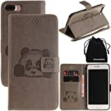 DRUnKQUEEn iPhone 7 Plus Case, 3D Creative Cartoon Panda Cover Soft Leather Case with Hand Strap for iPhone 7Plus (5.5') - Gray
