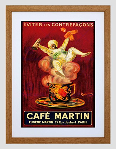 AD CAFE MARTIN COFFEE ARAB TURBAN STEAM CUP PARIS FRANCE FRAMED PRINT B12X6692