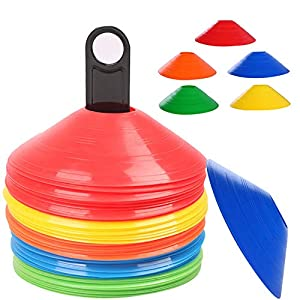 Yvjnxxan 50 Agility Training Sports Cones,Training Soccer Cones,Agility Soccer Cones with Holder for Soccer Training,Agility and Speed Training,Sport Marker Disc,5 Color