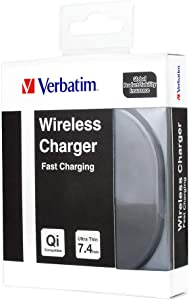 Verbatim Fast Charging Wireless Charger Ultra Thin 7.4mm/ (No AC Adapter) Compatible with All Qi-Enabled Phones
