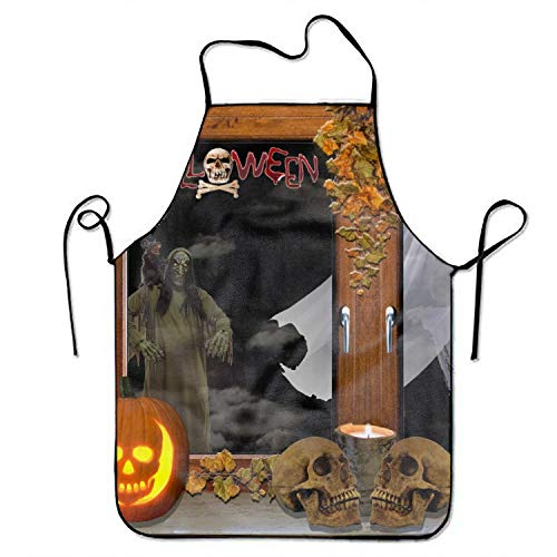 Horror Halloween Skull Print Aprons Adjustable Kitchen Apron Waterfroof Snapapron for Cooking]()