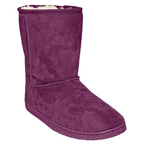 DAWGS Womens 9 inch Faux Shearling Microfiber Vegan Boots (Plum, Size (Shearling Bootie)